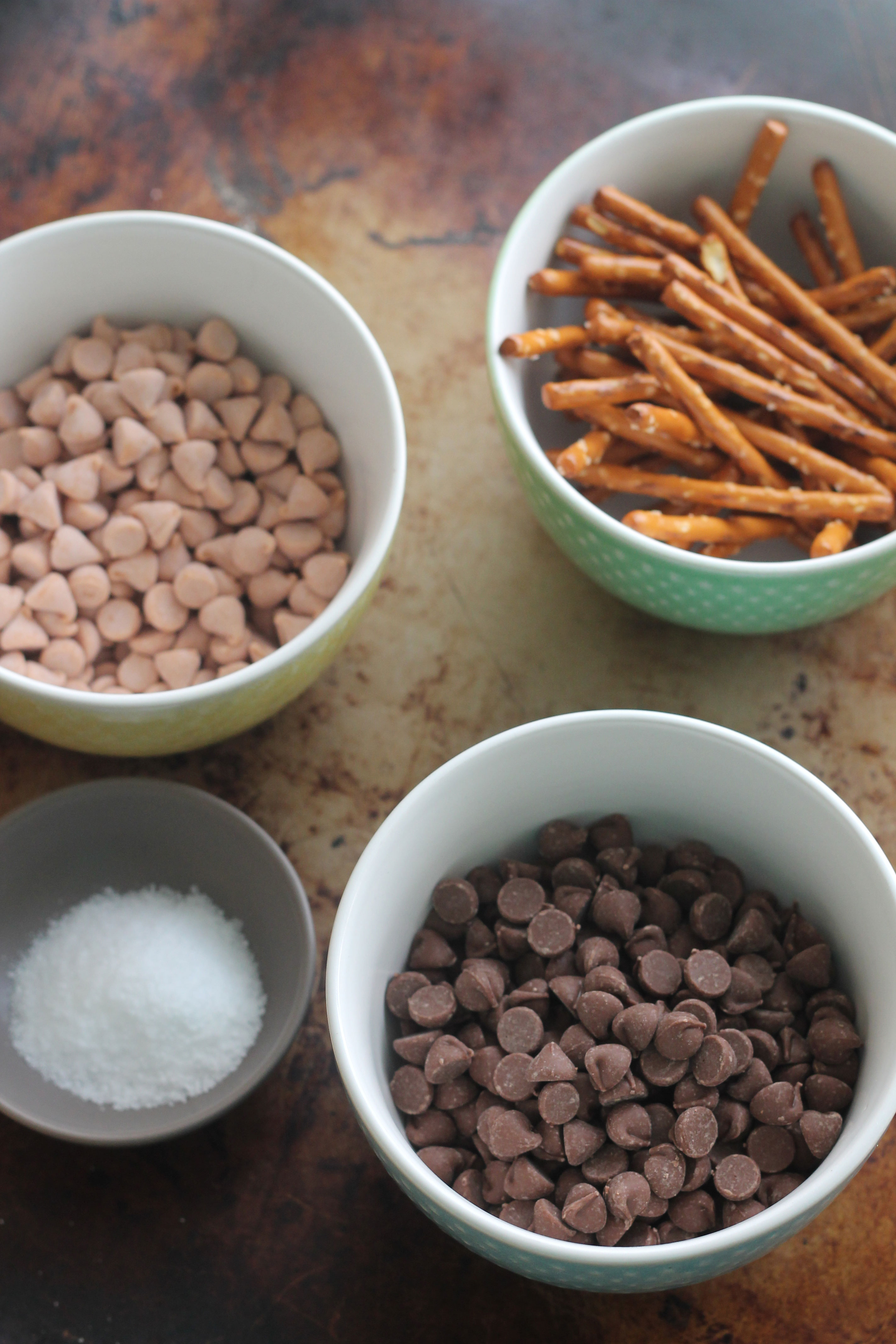 Mise en place for Salted Butterscotch Pretzel Chocolate Chip Cookies | Hall Nesting