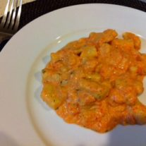 Roasted Red Pepper, Goat Cheese, and Herb Gnocchi