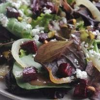 Mixed Greens with Roasted Beets and Caramelized Onions