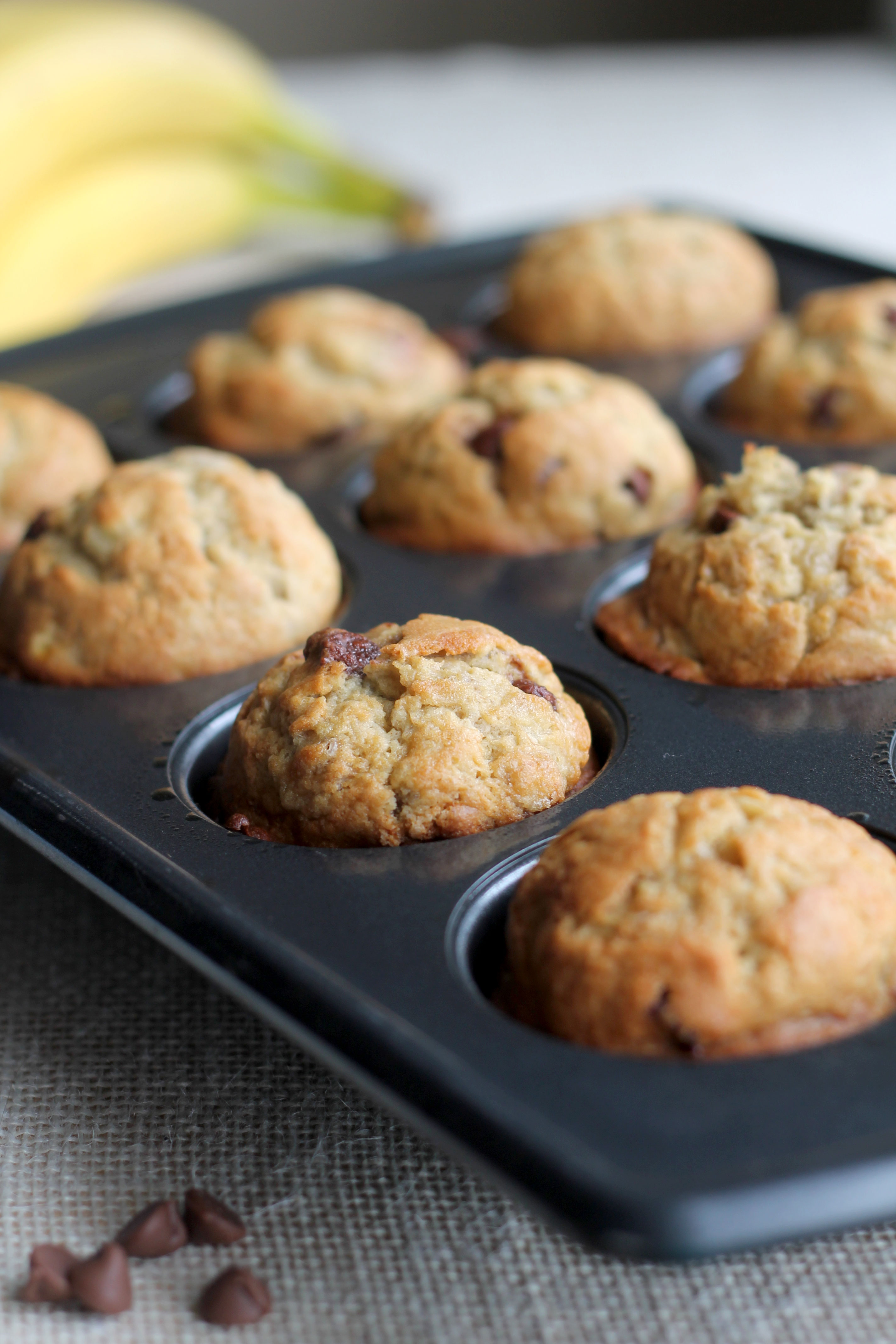 Tired of just making banana bread with those ripe bananas? Make these Banana Chocolate Chip Muffins instead!
