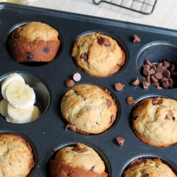 These are the Best Banana Chocolate Chip Muffins you will ever have