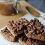 Chocolate Crunch Bars with Bourbon Caramel Sauce