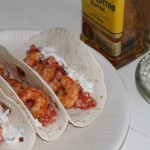 Spicy Tequila Shrimp Tacos with Mexican Rice and Cilantro Lime Sour Cream