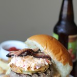 Southern Burger with Fried Green Tomatoes and Pimento Cheese