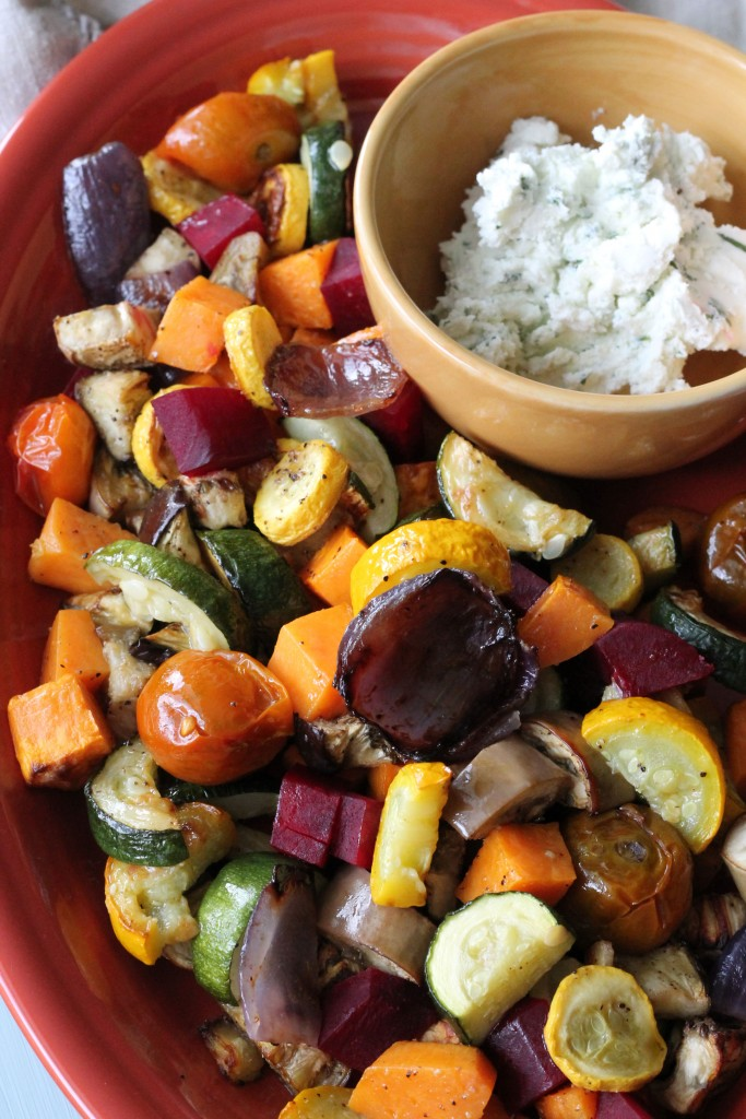 Roasted Vegetable Salad with Whipped Herb Goat Cheese ...
