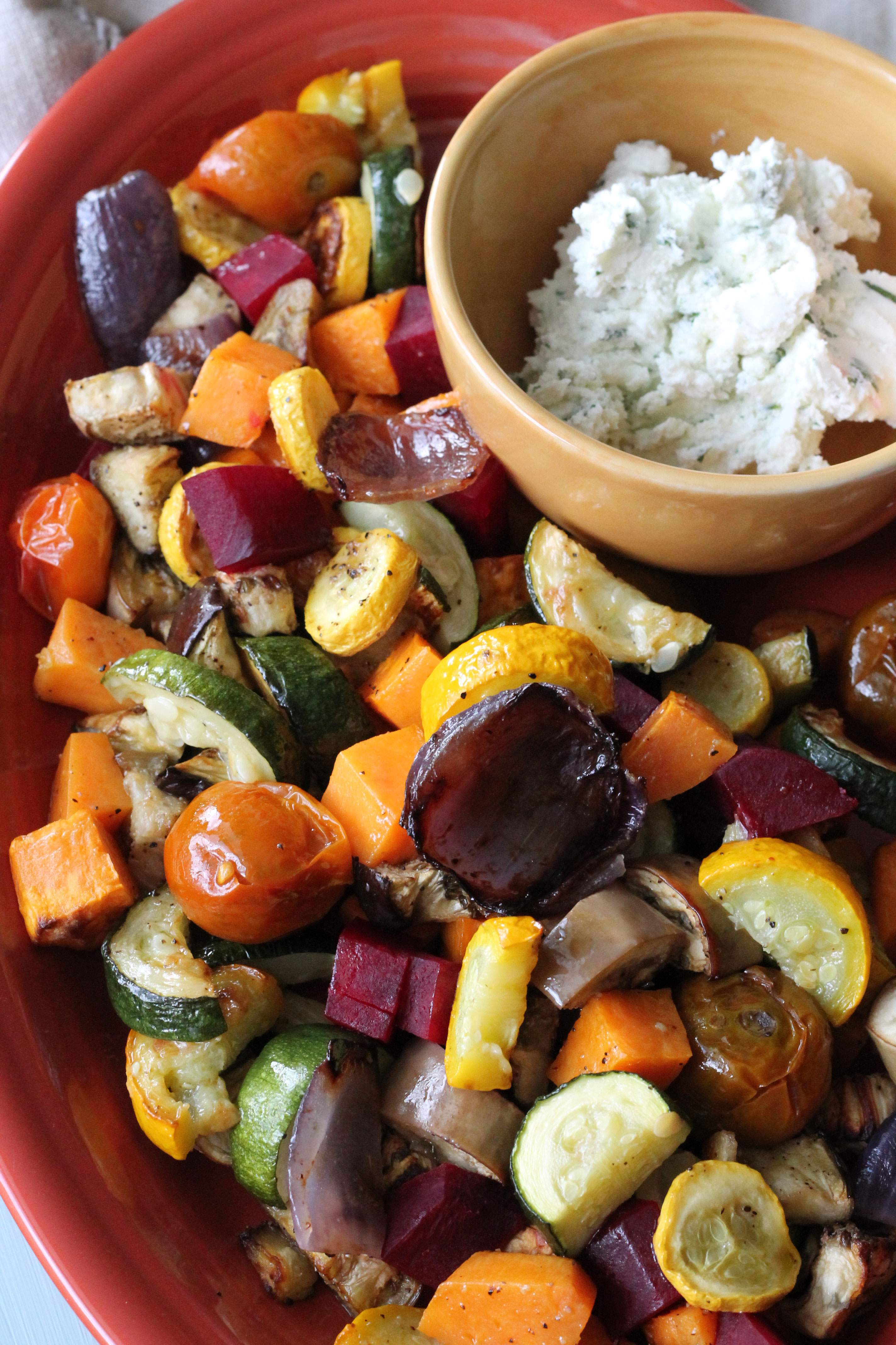 Roasted Vegetable Salad with Whipped Herb Goat Cheese - Hall Nesting