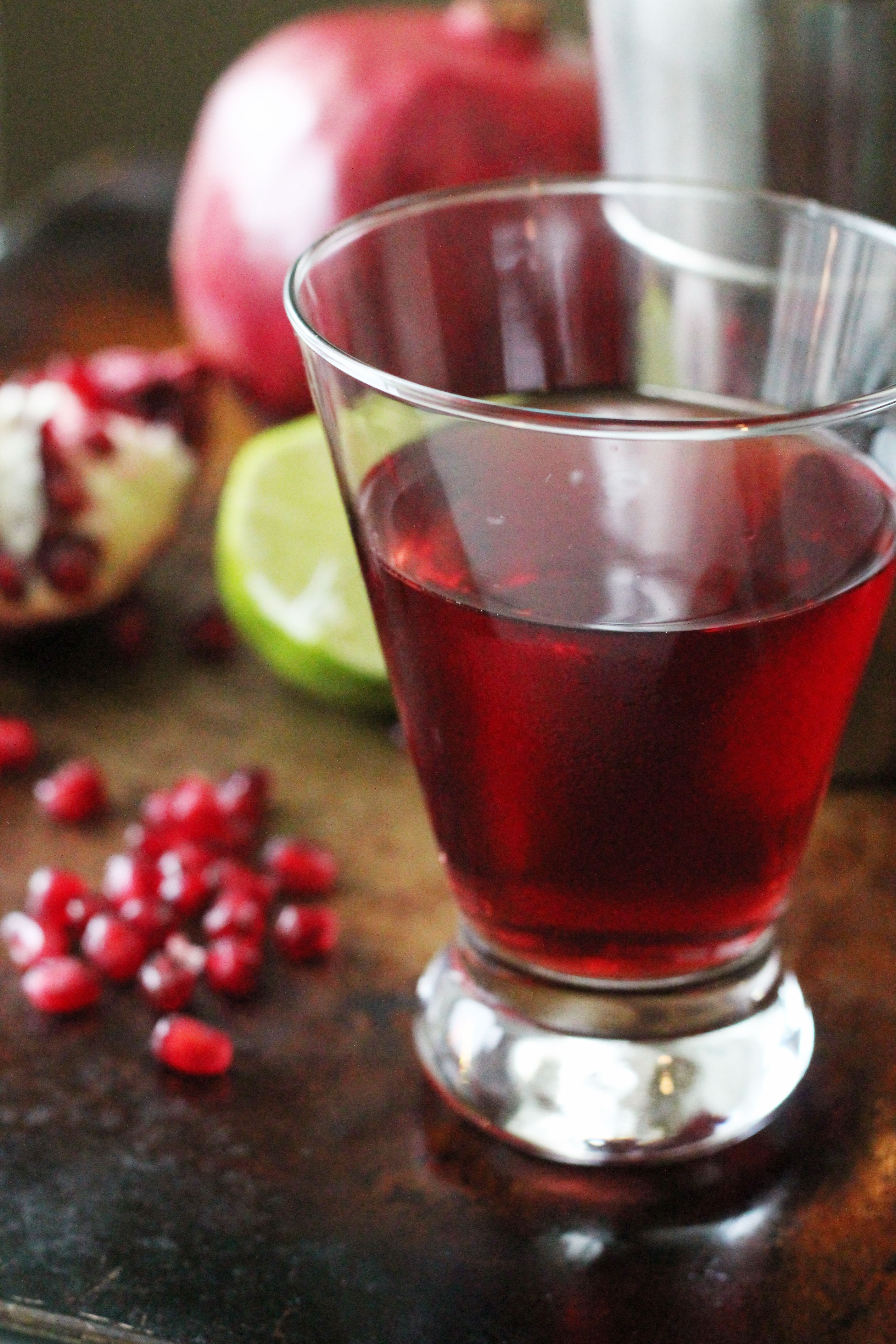 A delicious Pomegranate Lime Martini with only 4 ingredients!