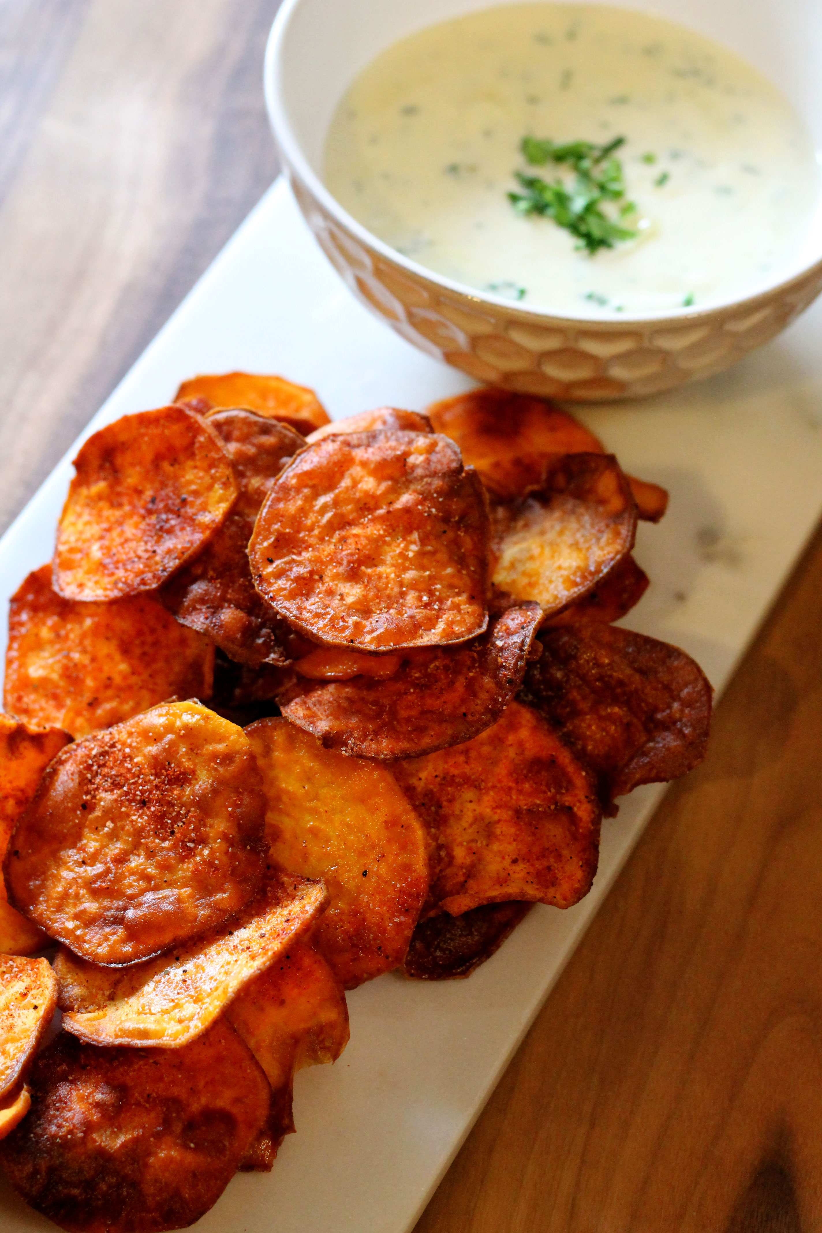 BBQ Sweet Potato Chips with Gorgonzola Herb Dipping Sauce ...