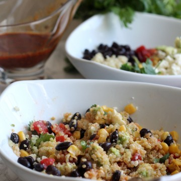 Southwestern Quinoa Bowl - veggies, beans, and cheese tossed in a smoky vinaigrette