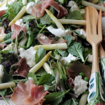 Spring Salad with Asparagus, Peas, Prosciutto and Burrata