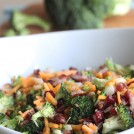 Need an easy side dish? Make this Creamy Broccoli Salad! It's full of fresh broccoli, cheese, red onion, dried cranberries, almonds and bacon mixed in a creamy, delicious dressing.