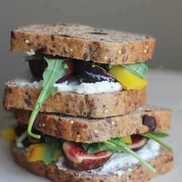 This Beet, Fig, Goat Cheese Sandwich will become your favorite go to lunch!