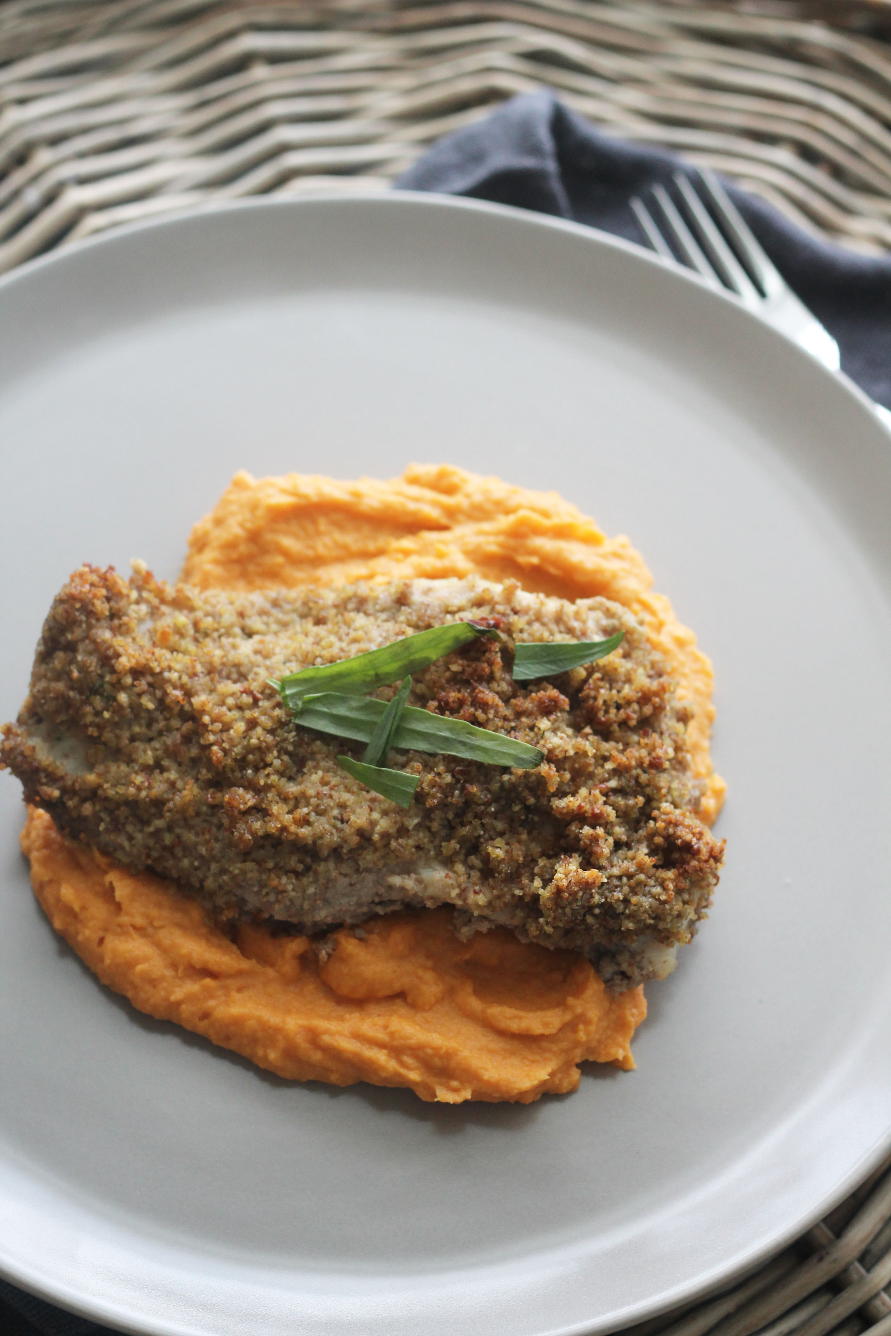This Pecan Crusted Snapper with Sweet Potato Puree looks fancy enough for a nice dinner but quick and easy to make it a weeknight favorite!