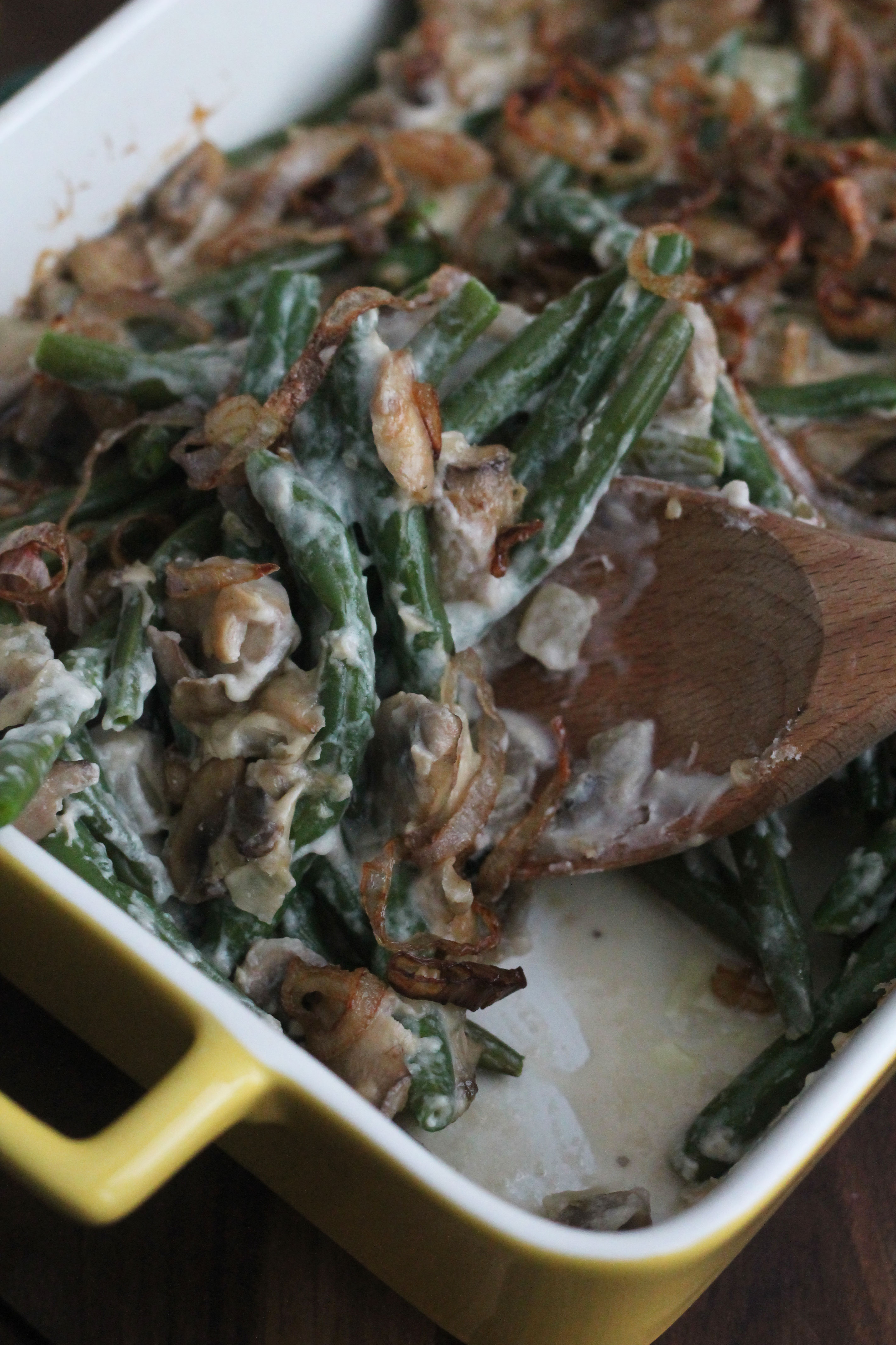 With fresh green beans, homemade creamy mushroom sauce, and fried shallots this dish gives the old Green Bean Casserole a run for its money
