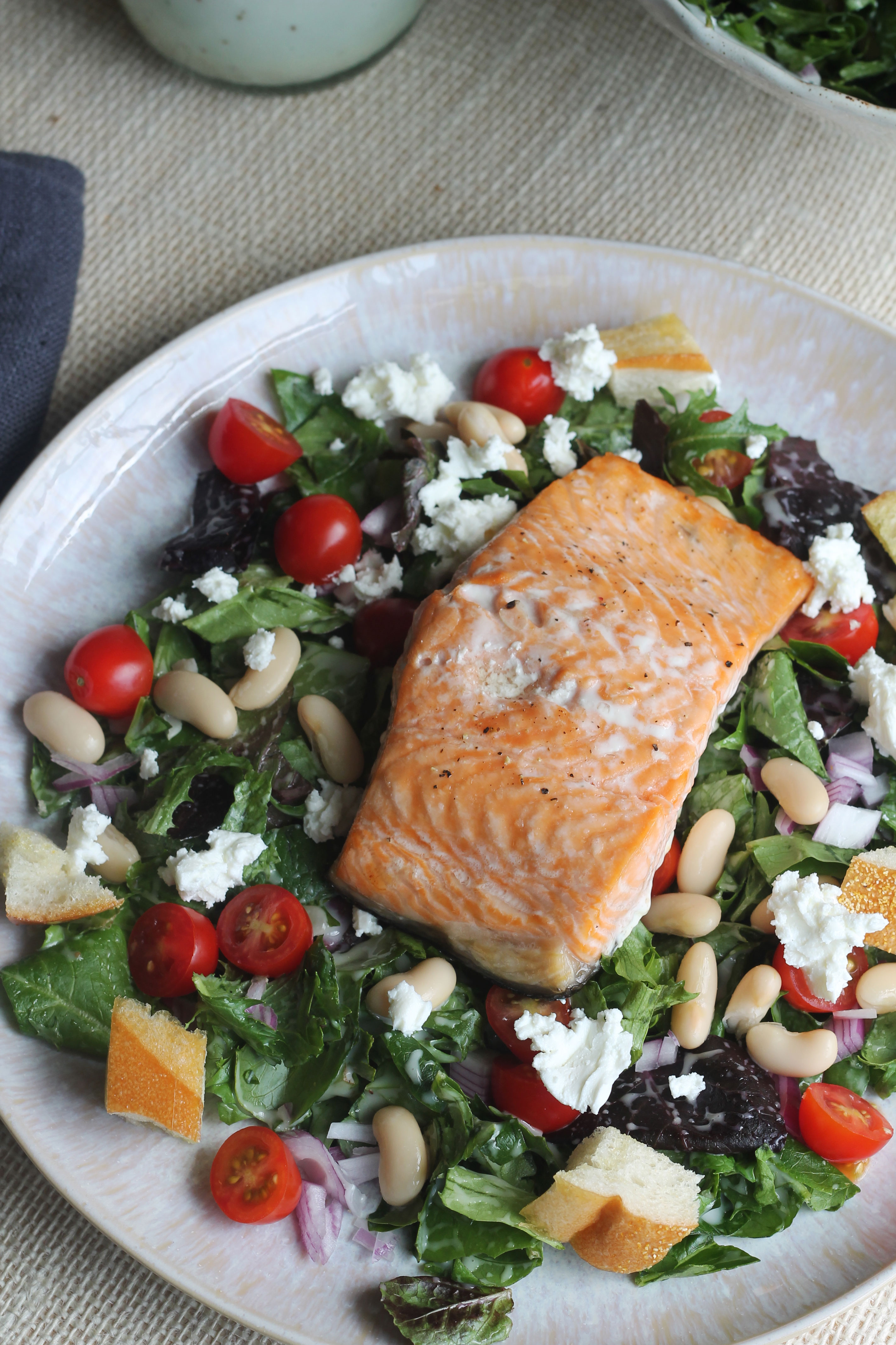 This Salmon Panzanella Salad is light and refreshing - perfect for this time of year