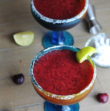 Cool down with these refreshing Frozen Cherry Margaritas