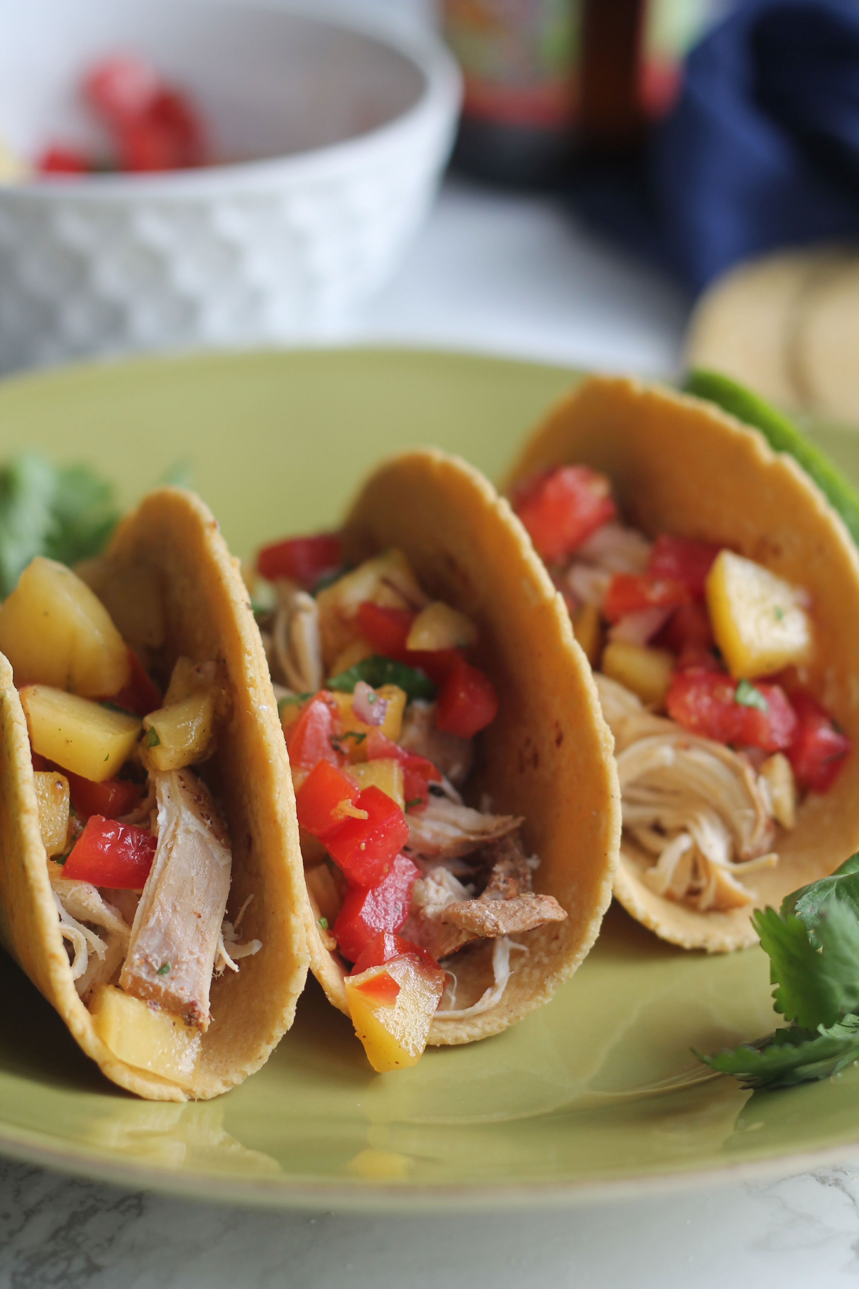 Easy Slow Cooker Beer Chicken Tacos with a quick Peach Salsa