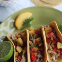 Slow Cooker Beer Chicken Tacos with Peach Salsa