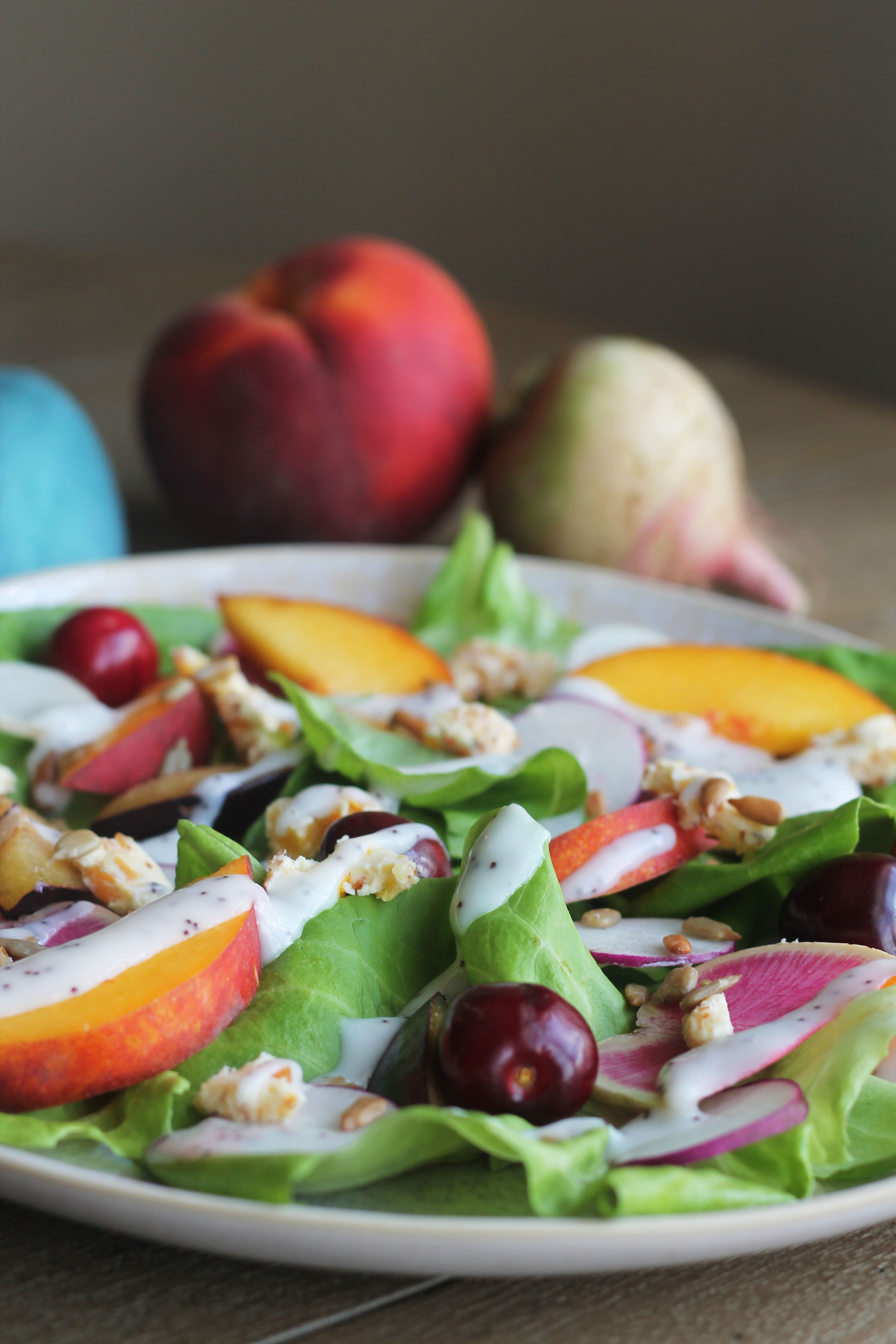 I can't get enough stone fruit and radishes right now so this summer salad is the perfect combo