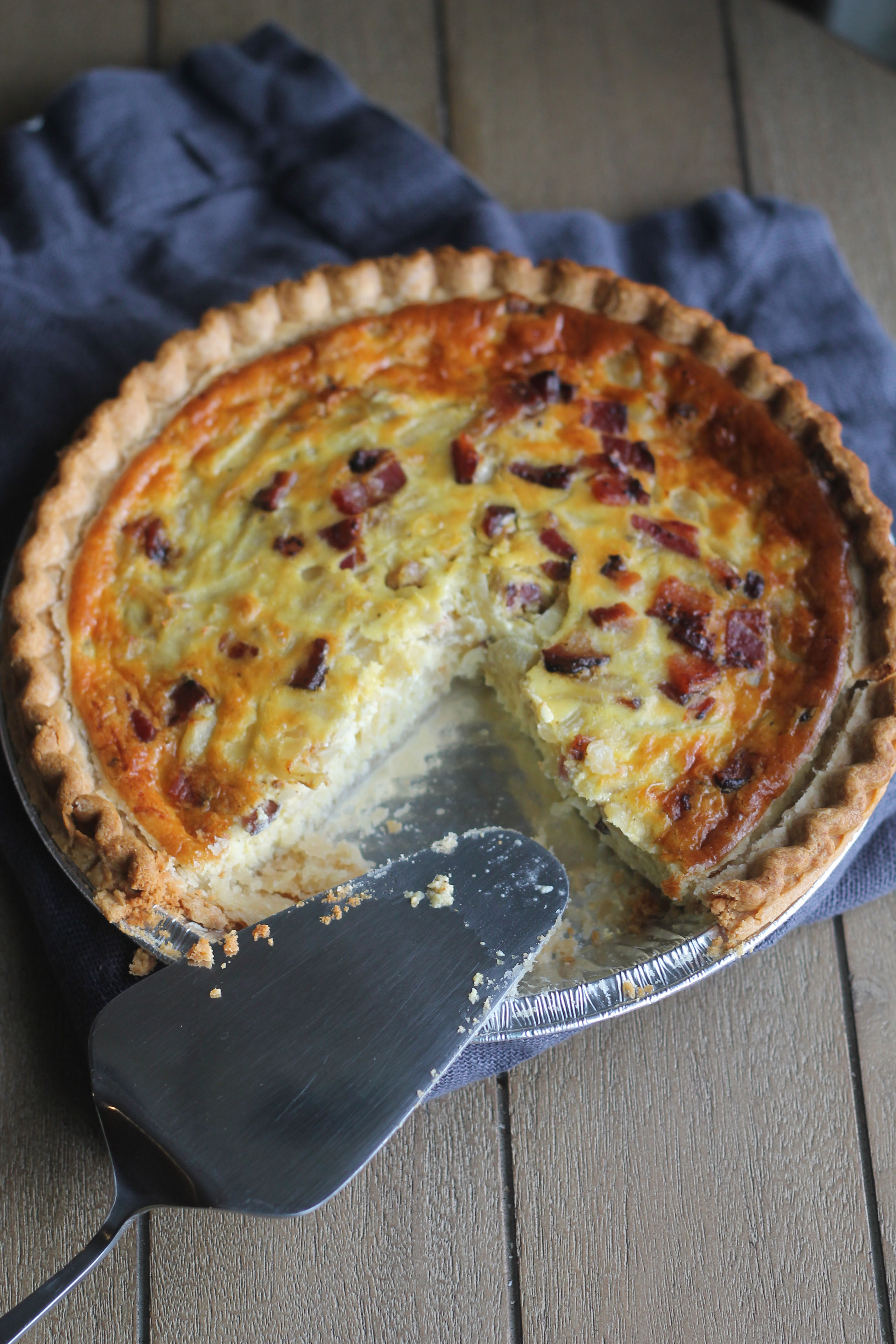 This Caramelized Onion, Bacon and Gruyere Quiche is rich, creamy and is sure to hit the spot