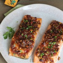 Salmon with Figs, Bacon and Pistachios