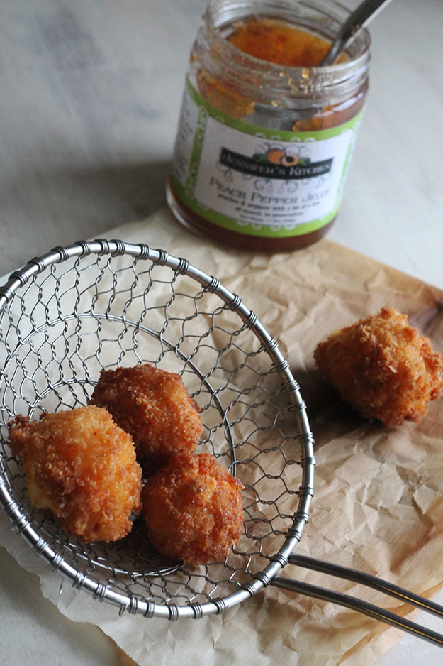 Pimento Cheese Fritters with Pepper Jelly