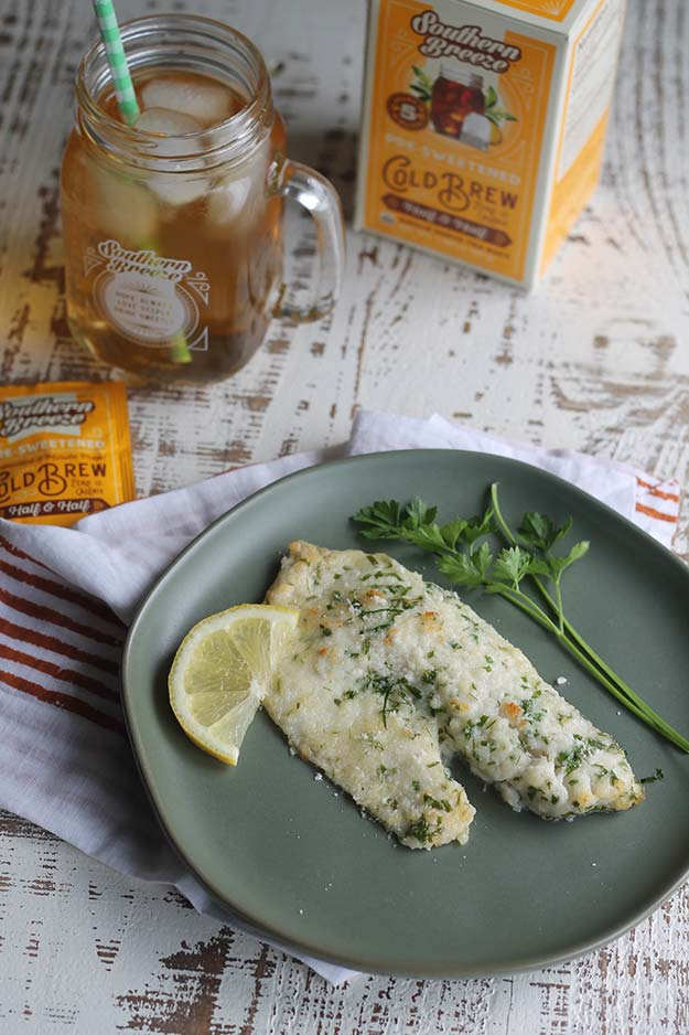 Low Carb Parmesan Herb Tilapia with Southern Breeze Cold Brew