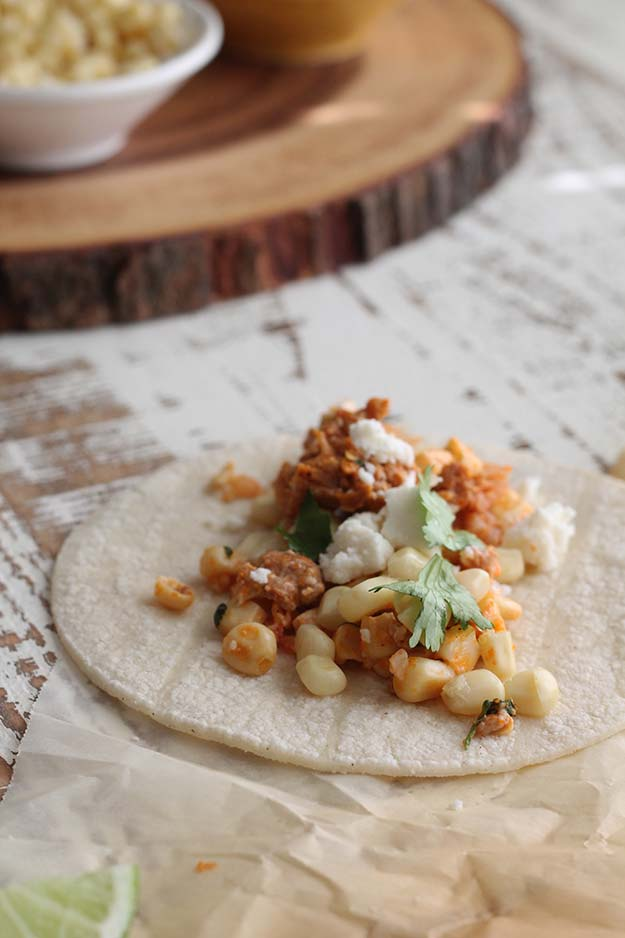 Mexican Street Corn and Chorizo filled Tacos